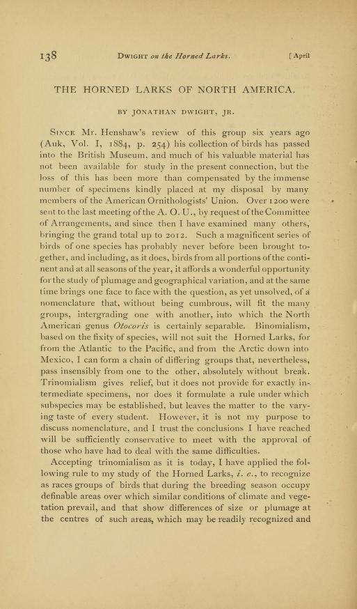 The Horned Larks of North America